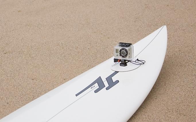 Go Pro HD am Surfboard befestigt