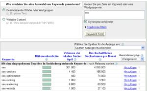 Keyword-Suche-Google-Tool